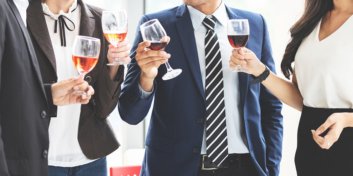 Business People Celebration Toast with red wine